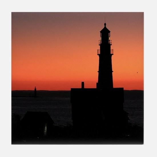 Blazing Horizon at the Lighthouse Tile Coaster