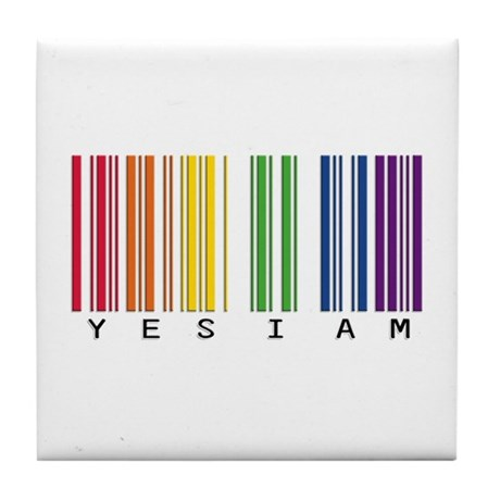 gay pride barcode Tile Coaster