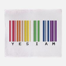 gay pride barcode Throw Blanket