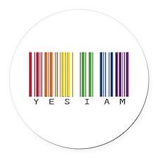 gay pride barcode Round Car Magnet
