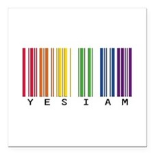 "gay pride barcode Square Car Magnet 3"" x 3"""