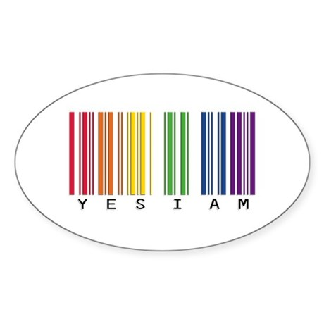gay pride barcode Sticker (Oval)