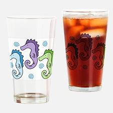Three Seahorses Drinking Glass