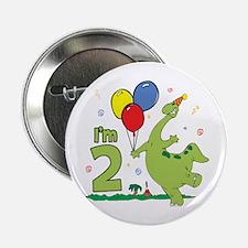 Dino 2nd Birthday Button