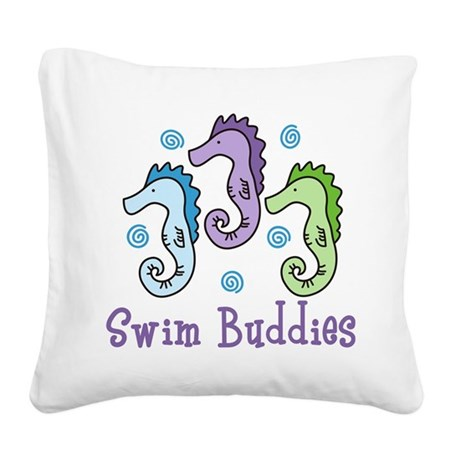 Swim Buddies Square Canvas Pillow