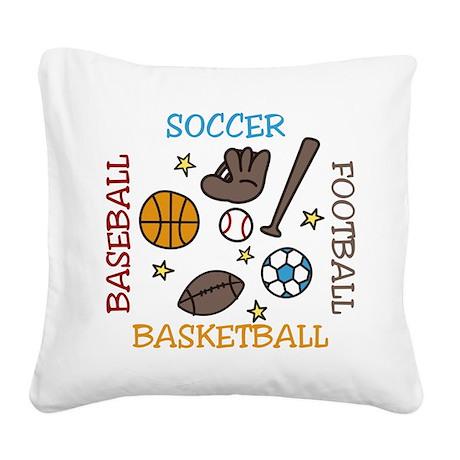 Sports Balls Square Canvas Pillow