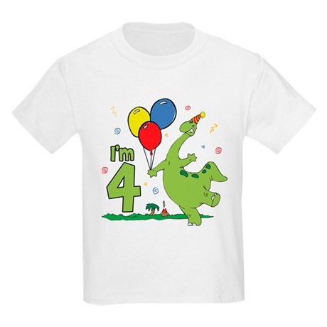 Dino 4th Birthday Kids T-Shirt