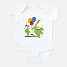 Dino 4th Birthday Infant Creeper