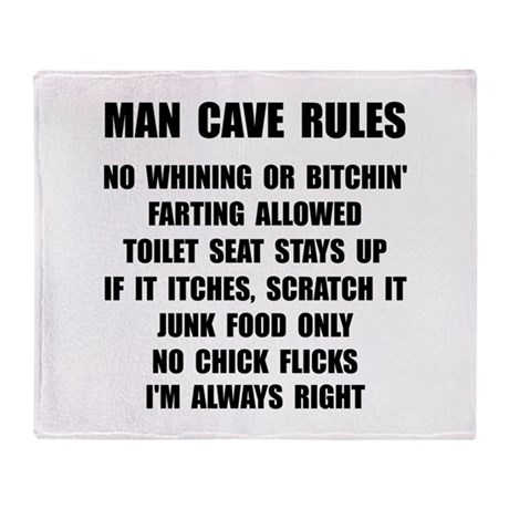 Man Cave Rules Throw Blanket