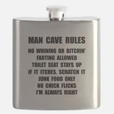 Man Cave Rules Flask