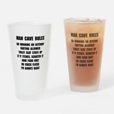 Man Cave Rules Drinking Glass