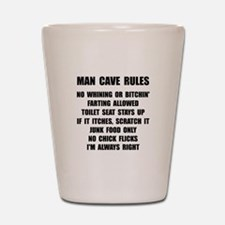 Man Cave Rules Shot Glass