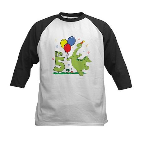 Dino 5th Birthday Kids Baseball Jersey