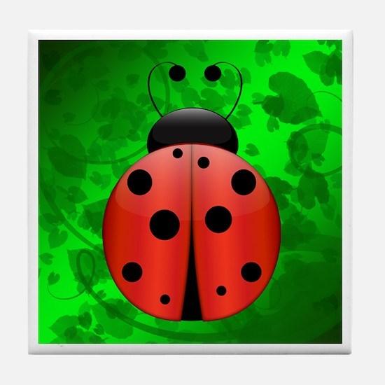Ladybug with border - Tile Coaster