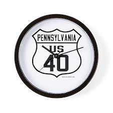 US Route 40 - Pennsylvania Wall Clock