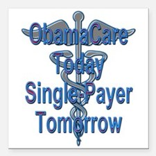 "Obama Care To Single Payer Square Car Magnet 3"" x"