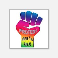 """Protest Injustice Square Sticker 3"""" x 3"""""""