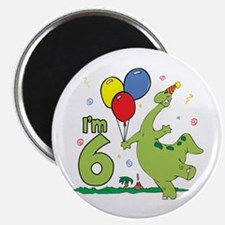 Dino 6th Birthday Magnet