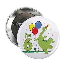 Dino 6th Birthday Button