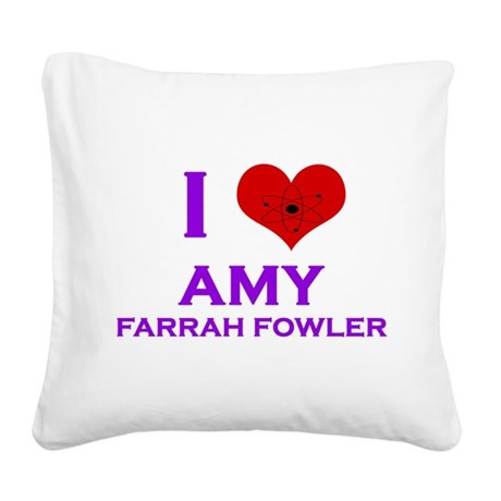 I Heart Amy Farrah Fowler Square Canvas Pillow