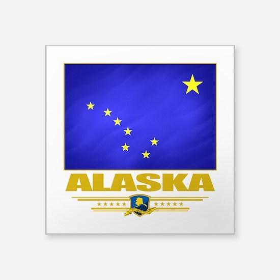 "Alaska (Flag 10).png Square Sticker 3"" x 3"""