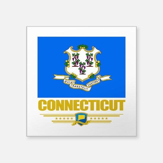 "Connecticut (Flag 10).png Square Sticker 3"" x 3"""