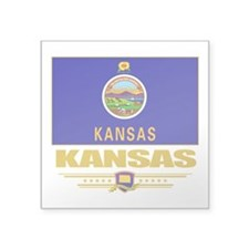 "Kansas (Flag 10).png Square Sticker 3"" x 3"""