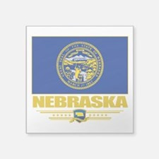"Nebraska (Flag 10).png Square Sticker 3"" x 3"""