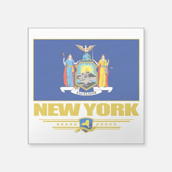 """New York (Flag 10).png Square Sticker 3"""" x 3"""""""
