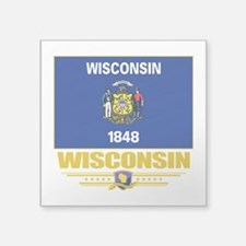 """Wisconsin (Flag 10).png Square Sticker 3"""" x 3"""""""