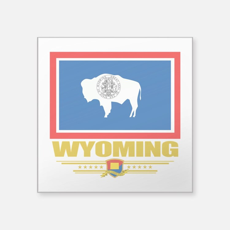 "Wyoming (Flag 10).png Square Sticker 3"" x 3"""