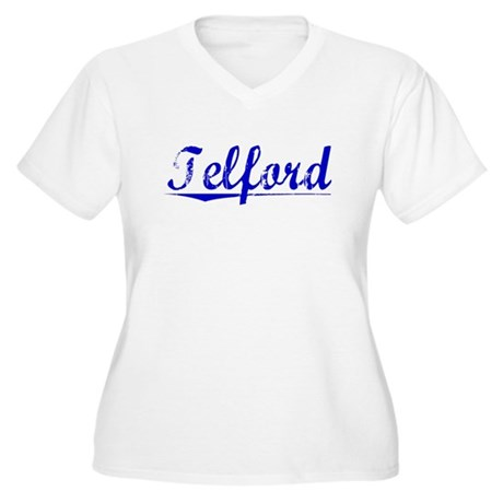 Telford, Blue, Aged Women's Plus Size V-Neck T-Shi