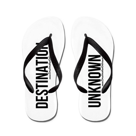 Destination Unknown Logo Black Flip Flops