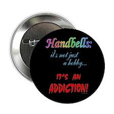 "Handbell Addiction Black 2.25"" Button (10 pack)"