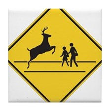 School & Deer Crossing Tile Coaster