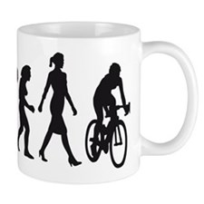 evolution female bicycle racer Mug
