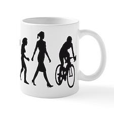 evolution female bicycle racer Small Mug
