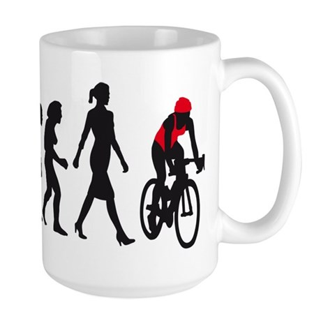evolution female bicycle racer Large Mug
