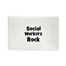 SOCIAL WORKERS Rock Rectangle Magnet