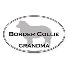Border Collie GRANDMA Oval Decal