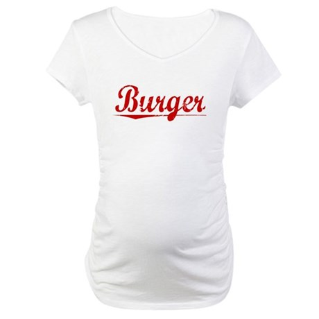 Burger, Vintage Red Maternity T-Shirt