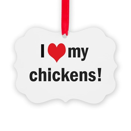 heartchickens.png Picture Ornament