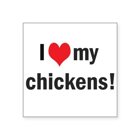 """heartchickens.png Square Sticker 3"""" x 3"""""""
