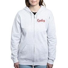Carley, Vintage Red Zip Hoodie