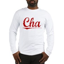 Cha, Vintage Red Long Sleeve T-Shirt