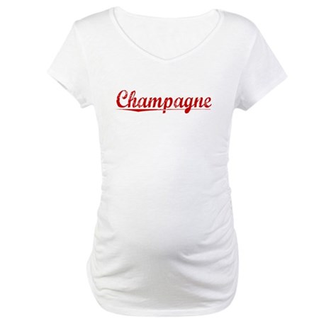 Champagne, Vintage Red Maternity T-Shirt