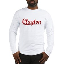 Clayton, Vintage Red Long Sleeve T-Shirt