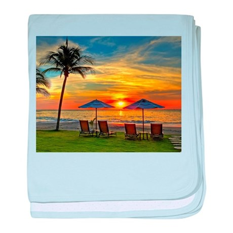 Sunset & Palm Trees baby blanket