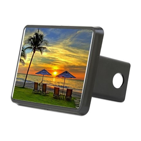 Sunset & Palm Trees Rectangular Hitch Cover