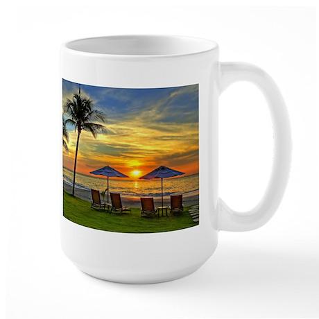 Sunset & Palm Trees Large Mug